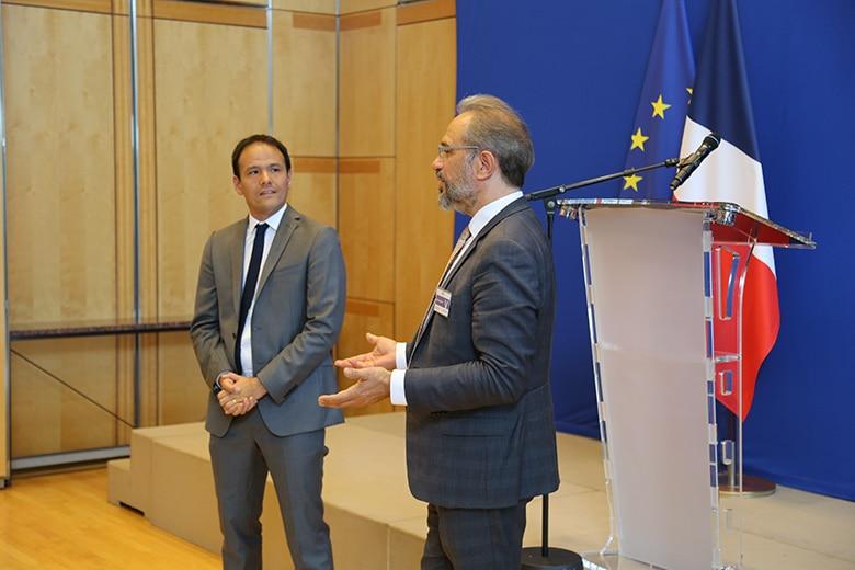 Cédric O et Joël Courtois, le directeur général de l'EPITA