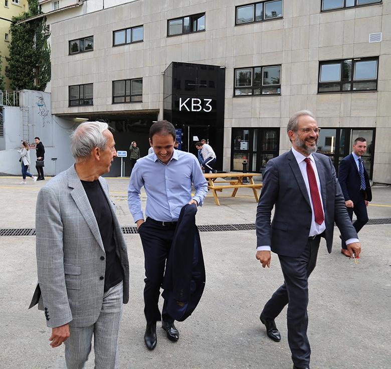 De gauche à droite : Fabrice Bardèche, vice-président exécutif du Groupe IONIS, Cédric O et Joël Courtois, directeur gén